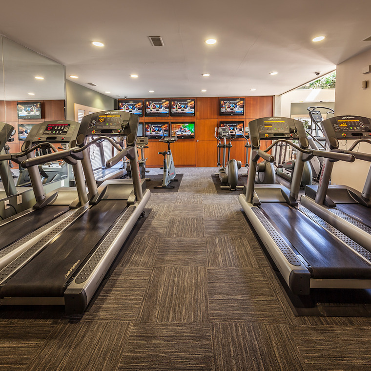 Fitness area with treadmills and bikes