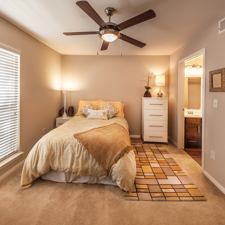 bedroom with earth tone color scheme, walk in closet and bathroom